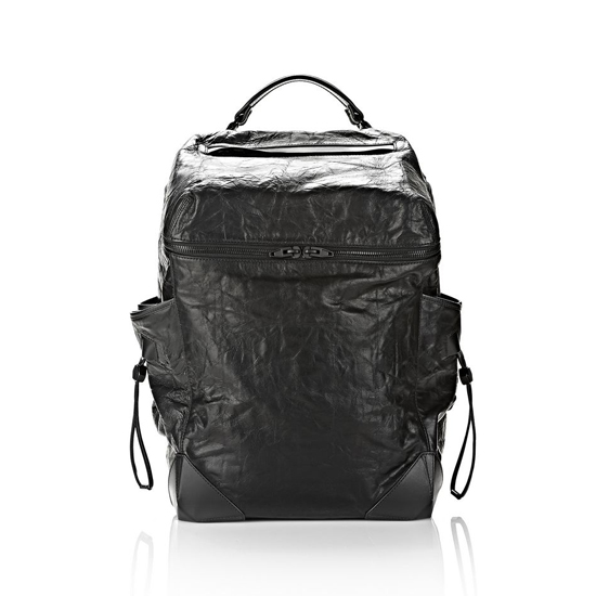 BLACK ALEXANDER WANG WALLIE BACKPACK IN WAXY BLACK WITH MATTE BLACK Outlet Online