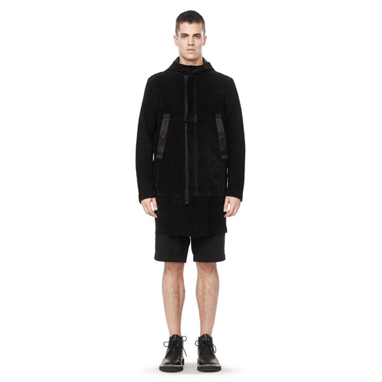 BLACK ALEXANDER WANG HOODED LEATHER CARCOAT Outlet Online