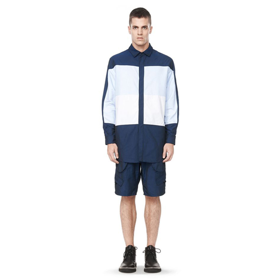 SKY BLUE ALEXANDER WANG NYLON COMBO COLLARED SHIRT Outlet Online