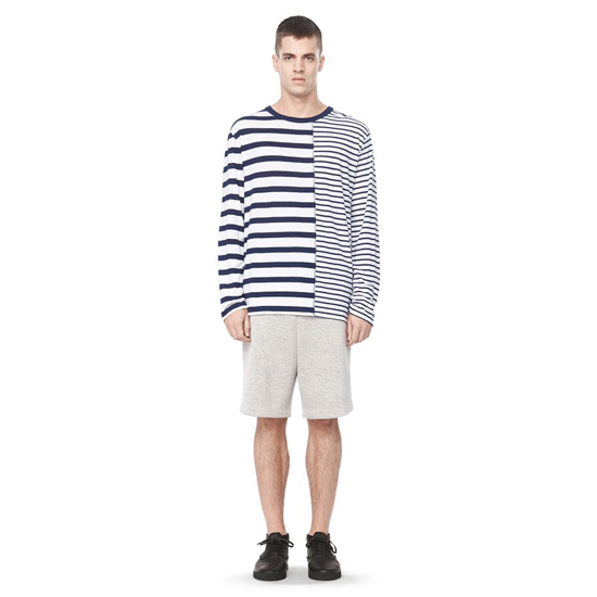 DARK BLUE ALEXANDER WANG LINEN STRIPE JERSEY LONG SLEEVE TEE Outlet Online