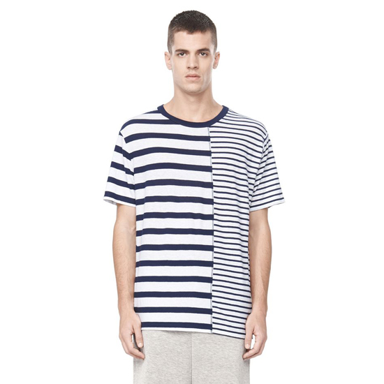 DARK BLUE ALEXANDER WANG LINEN STRIPE JERSEY SHORT SLEEVE TEE Outlet Online
