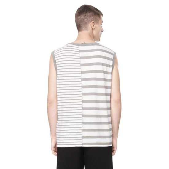 LIGHT GRAY ALEXANDER WANG LINEN STRIPE JERSEY MUSCLE TANK Outlet Online