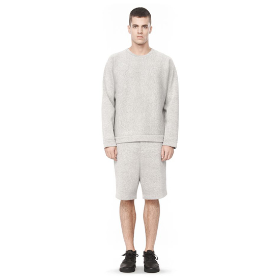 LIGHT GRAY ALEXANDER WANG LONG SLEEVE NEOPRENE SWEATSHIRT Outlet Online