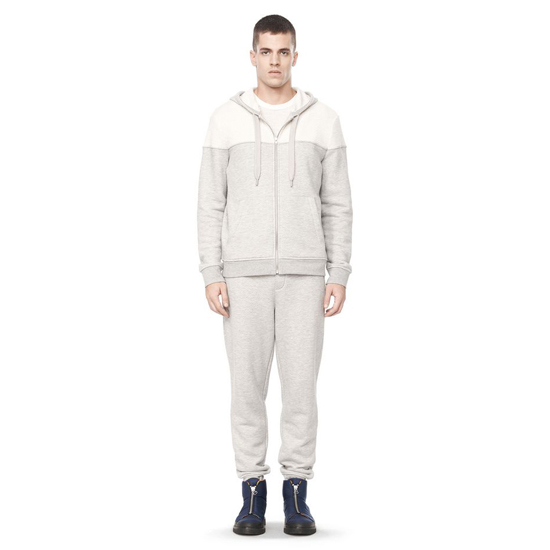 LIGHT GRAY ALEXANDER WANG LONG SLEEVE HOODED SWEATSHIRT Outlet Online
