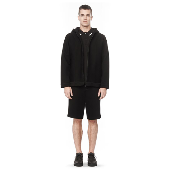 BLACK ALEXANDER WANG LONG SLEEVE HOODED NEOPRENE SWEATSHIRT Outlet Online