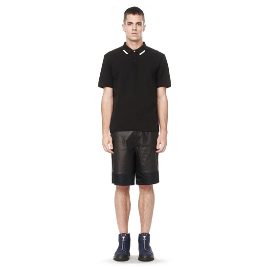 BLACK ALEXANDER WANG LEATHER SHORTS WITH NYLON PANELS Outlet Online