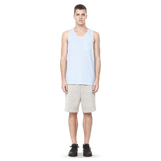 SKY BLUE ALEXANDER WANG CLASSIC LOW NECK TANK WITH POCKET Outlet Online