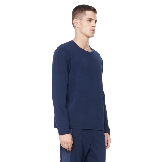DARK BLUE ALEXANDER WANG LONG SLEEVE TEE WITH POP COLOR NECK TRIM Outlet Online