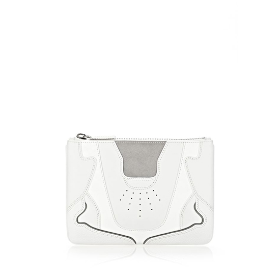 WHITE ALEXANDER WANG SNEAKER POUCH IN OPTIC WHITE AND LIGHT CONCRETE WITH RHODIUM Outlet Online