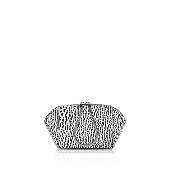BLACK & WHITE ALEXANDER WANG CHASTITY MAKEUP POUCH IN PEBBLED WHITE AND BLACK Outlet Online