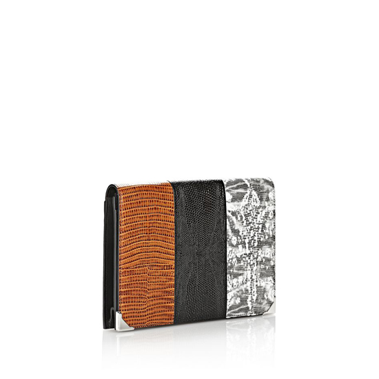 MULTICLR ALEXANDER WANG PRISMA SKELETAL COMPACT WALLET IN EMBOSSED TRICOLOR WITH RHODIUM Outlet Online