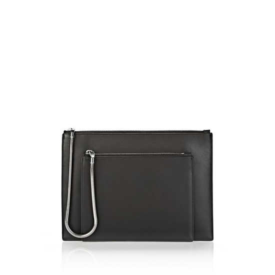 BLACK ALEXANDER WANG CHASTITY DOUBLE FLAT POUCH IN SMOOTH BLACK WITH RHODIUM Outlet Online