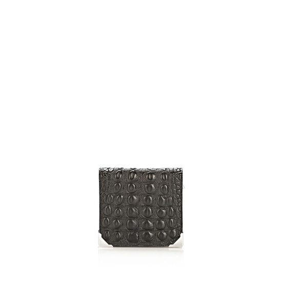 BLACK ALEXANDER WANG PRISMA SKELETAL COMPACT WALLET IN EMBOSSED BLACK Outlet Online