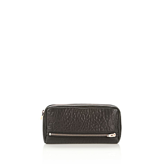 BLACK ALEXANDER WANG FUMO CONTINENTAL WALLET IN BLACK PEBBLE LEATHER WITH ROSEGOLD Outlet Online