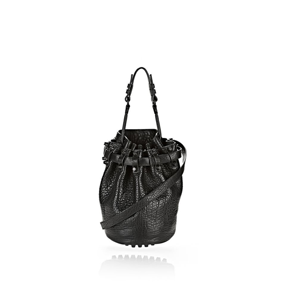 BLACK ALEXANDER WANG SMALL DIEGO IN PEBBLED BLACK WITH MATTE BLACK Outlet Online