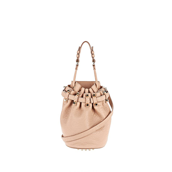 LIGHT PINK ALEXANDER WANG SMALL DIEGO IN PEBBLED BLUSH WITH PALE GOLD Outlet Online