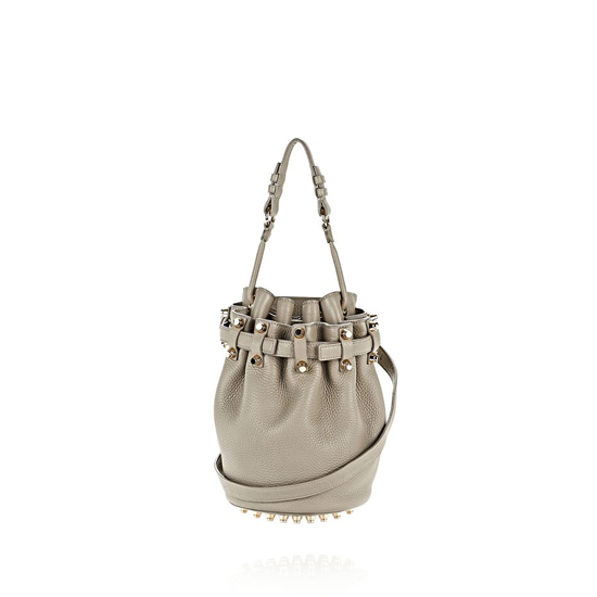 GRAY ALEXANDER WANG EXCLUSIVE SMALL DIEGO IN PEBBLED OYSTER WITH PALE GOLD Outlet Online