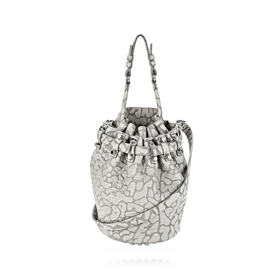 GRAY ALEXANDER WANG LASER CUT SMALL DIEGO IN LIGHT CONCRETE WITH RHODIUM Outlet Online
