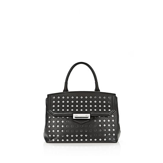 BLACK ALEXANDER WANG LARGE MARION SLING IN BLACK WITH EYELETS AND RHODIUM Outlet Online
