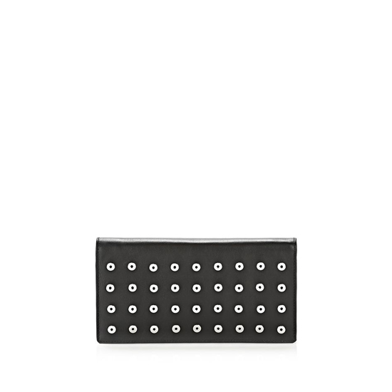 BLACK ALEXANDER WANG PRISMA LONG COMPACT WALLET IN BLACK WITH EYELETS AND RHODIUM Outlet Online