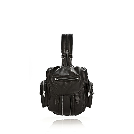 BLACK ALEXANDER WANG MINI MARTI BACKPACK IN WASHED BLACK WITH RHODIUM Outlet Online