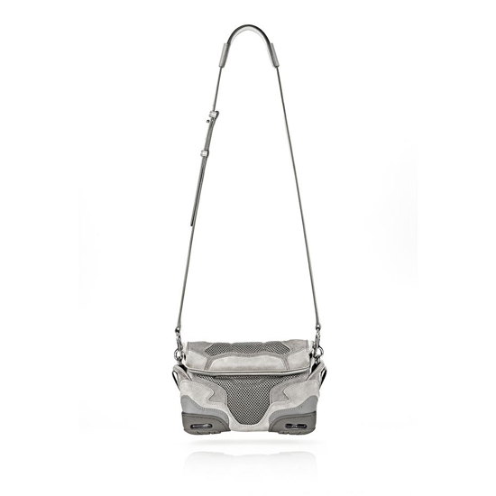 GRAY ALEXANDER WANG SMALL SNEAKER SLING IN LIGHT CONCRETE WITH MESH AND RHODIUM Outlet Online