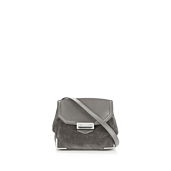 GRAY ALEXANDER WANG MARION SKELETAL SLING IN WINTER SMOKE SUEDE WITH RHODIUM Outlet Online