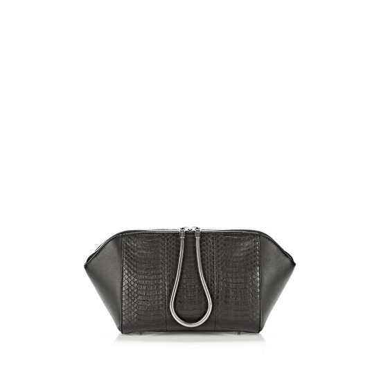 BLACK ALEXANDER WANG LARGE CHASTITY MAKE-UP CASE IN BLACK ELAPHE WITH RHODIUM Outlet Online