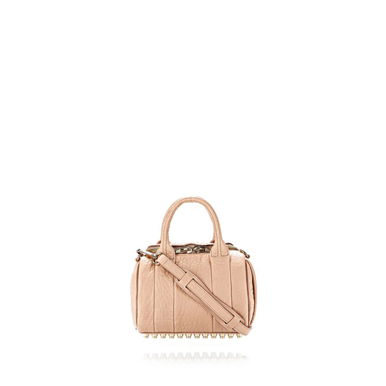 LIGHT PINK ALEXANDER WANG MINI ROCKIE IN PEBBLED BLUSH WITH PALE GOLD Outlet Online
