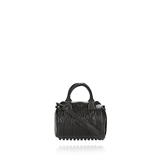 BLACK ALEXANDER WANG MINI ROCKIE IN PEBBLED BLACK WITH MATTE BLACK Outlet Online