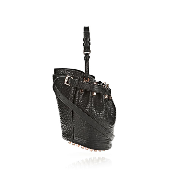BLACK ALEXANDER WANG SMALL DIEGO IN PEBBLED BLACK WITH ROSE GOLD Outlet Online