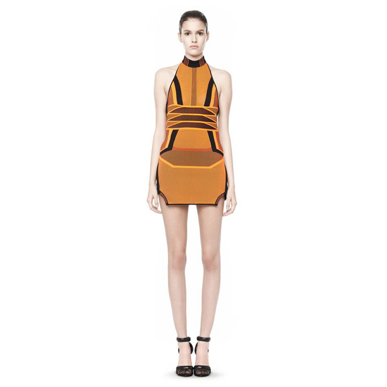 ORANGE ALEXANDER WANG BI COLOR MESH HALTER DRESS Outlet Online