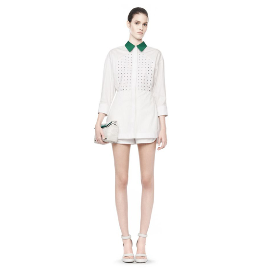 WHITE ALEXANDER WANG LONG SLEEVE COLLARED ROMPER Outlet Online