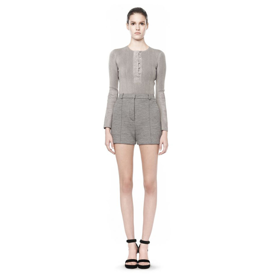 GRAY ALEXANDER WANG LONG SLEEVE HENLEY SWEATSHIRT Outlet Online