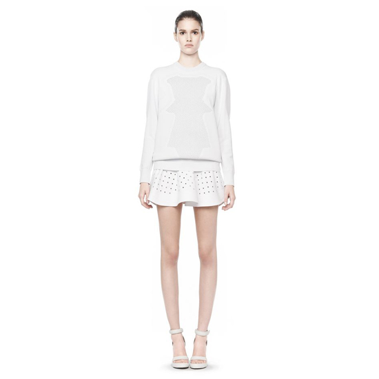 WHITE ALEXANDER WANG OPTICAL MESH PULLOVER Outlet Online
