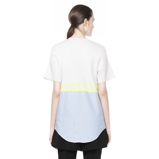 WHITE ALEXANDER WANG CREW NECK TEE WITH CHAMBRAY DETAIL Outlet Online