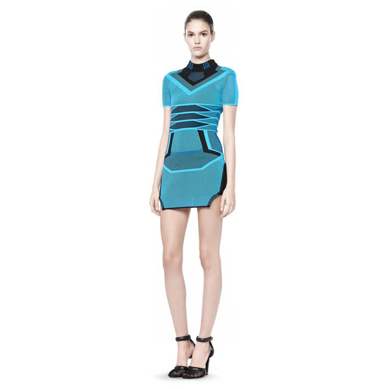 BLUE ALEXANDER WANG BI COLOR MESH TEE DRESS Outlet Online
