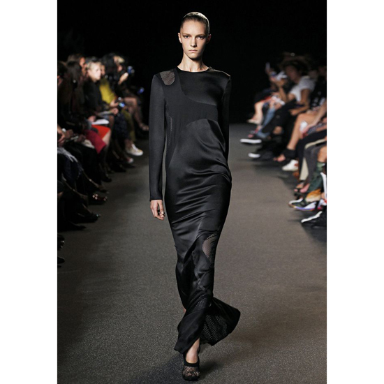 BLACK ALEXANDER WANG LONG SLEEVE LASERCUT AND WELDED DRESS Outlet Online