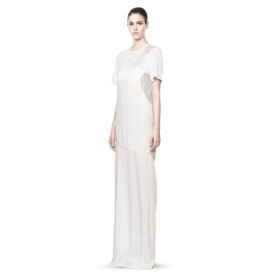 WHITE ALEXANDER WANG LASERCUT AND WELDED T-SHIRT DRESS Outlet Online