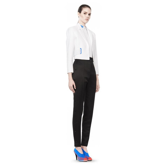 WHITE ALEXANDER WANG CROPPED COLLARED JACKET Outlet Online