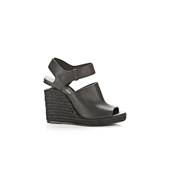 BLACK ALEXANDER WANG TORI ESPADRILLE WEDGE WITH RHODIUM Outlet Online