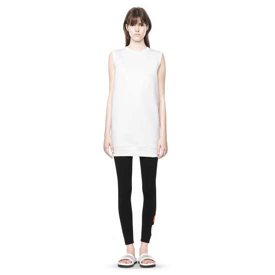 WHITE ALEXANDER WANG BONDED FLEECE SWEATSHIRT DRESS Outlet Online