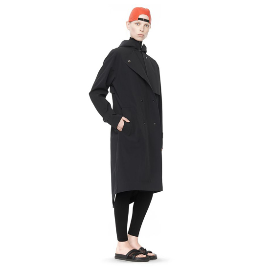 BLACK ALEXANDER WANG WATER REPELLANT HOODED TRENCH COAT Outlet Online