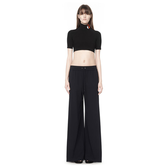 BLACK ALEXANDER WANG MOCKNECK LOGO CROP TOP Outlet Online