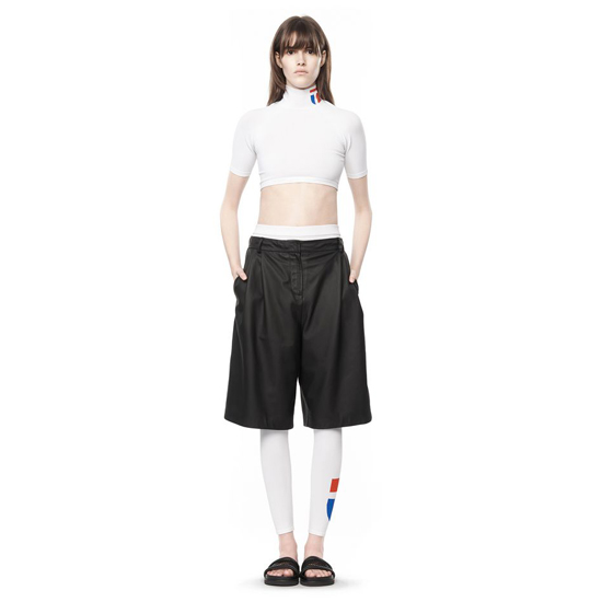 BLACK ALEXANDER WANG LEATHER WIDE LEG SKATER SHORTS Outlet Online