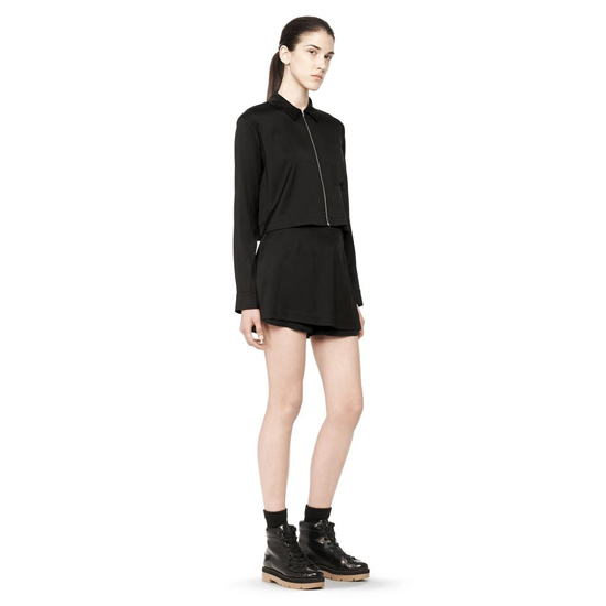 BLACK ALEXANDER WANG CROPPED SILK COLLARD SHIRT Outlet Online