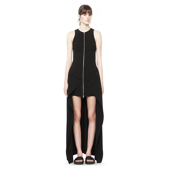 BLACK ALEXANDER WANG DRAPE SUITING ZIP DRESS Outlet Online