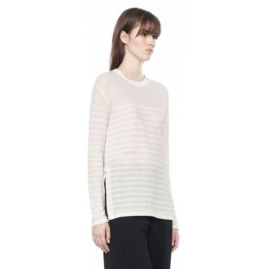 WHITE ALEXANDER WANG STRIPE LONG SLEEVE TEE Outlet Online