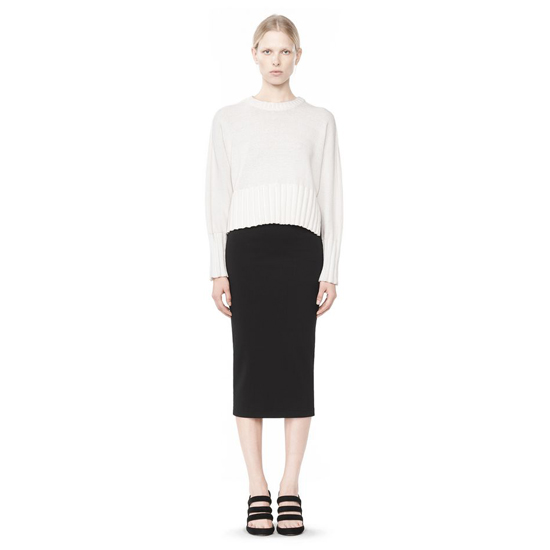 WHITE ALEXANDER WANG CHUNKY CROPPED SWEATER Outlet Online