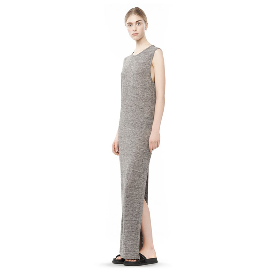 GRAY ALEXANDER WANG LONG LINEN JERSEY MUSCLE DRESS Outlet Online